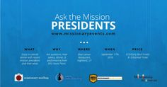"""2 FREE TICKETS TO """"ASK THE MISSION PRESIDENTS"""" WORKSHOP W/MUSICAL GUEST BYU'S VOCAL POINT"""