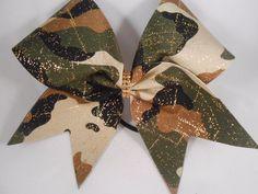 Black Gold Cream Army Green Camo Camoflage Cheer Bow BlingItOnCheerBows  #BlingItOnCheerBowz