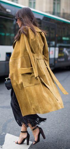 Camel Suede Overcoat