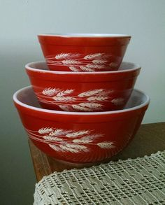 VINTAGE PYREX AUTUMN HARVEST WHEAT 3 BOWL SET RUST RED 401 402 403 in Pottery & Glass, Glass, Glassware | eBay