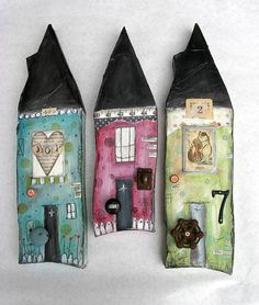 mixed media collage / found items assemblage art   5x20x1.5 inches  $225