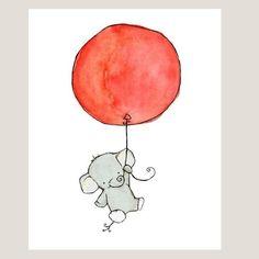 etsy - trafalgar's square - baby nursery - art print - flying high - elephant with balloon - orange creamsicle Elephant Wall Decor, Elephant Love, Elephant Art, Pinguin Illustration, Illustration Art, Nursery Prints, Nursery Art, Orange Balloons, Red Balloon