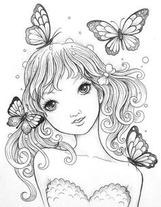Girl and butterflies coloring page Fairy Coloring Pages, Printable Adult Coloring Pages, Coloring Pages To Print, Coloring Sheets, Coloring Books, Colorful Drawings, Colorful Pictures, Art Drawings, Doodle Coloring