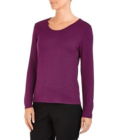 Assuili Purple silk blend crewneck top