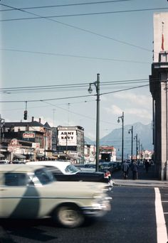 Main and Hastings, ca. 1961 Source: Photo by Roger Cameron Greig, City of Vancouver Archives Vancouver Chinatown, Richmond Vancouver, Vancouver Bc Canada, Vancouver City, Past Tense, Western Canada, Urban Life, Pacific Northwest, Historical Photos