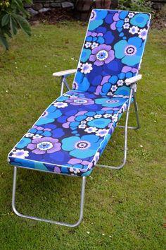 Vintage Sun Lounger Reclining Garden Caravan Chair Camping Picnic VW Fest RETRO