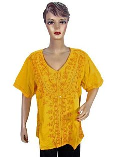 46ee71c3f73 Womens Casual Wear Cotton Shirt Blouse with Yellow Floral Embroidery Tunic  Top Xl Size Mogul Interior