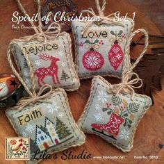 Spirit of Christmas 1 by Lilas Studio Counted Cross Stitch Pattern/Chart Stitch count for each ornament: x Cross Stitch Christmas Ornaments, Christmas Embroidery, Christmas Cross, Woodland Christmas, Christmas Time, Christmas Ideas, Christmas Decorations, Counted Cross Stitch Patterns, Cross Stitch Designs