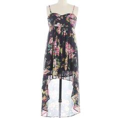 "Millau Black Floral Print Hi-Lo Dress Like new condition, worn once. Bust: 26"", Waist: 22"", Hips: 42"", Front length: 34"", Back length: 45"". Measurements are approximate, laid flat. Adjustable shoulder straps. Millau Dresses High Low"