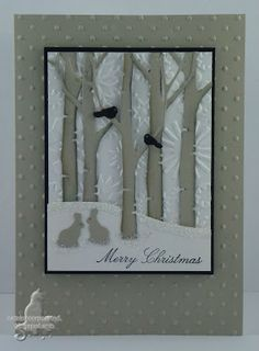 Card by Susan Joyce  (052713)  [Memory Box  Birch Tree, PapertreyInk Woodlands]  Isn't the use of the Sizzix Snowflake embossing folder the perfect touch!