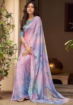 Indian Clothes Online, Indian Sarees Online, Grey Saree, Sari Dress, Saree Blouse, Neck Deep, Saree Shopping, Casual Saree, Chiffon Saree