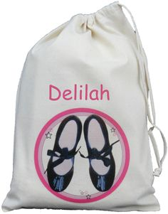 PERSONALISED - TAP DANCING SHOES - SMALL NATURAL COTTON DRAWSTRING BAG - Dance