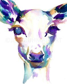 Ciervos de acuarela pintura de ciervo de 18 x 24 por JessBuhmanArt