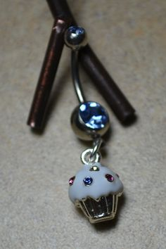 Cupcake belly button ring Blue crystal by LauriginalDesigns, $11.99