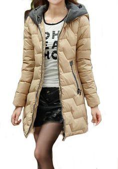 Khaki Plain Pockets Long Sleeve Cotton Padded Coat Cozy Winter Fashion, Winter Fashion Outfits, Fashion Clothes, Fall Outfits, Fashion Tips, Cool Jackets, Cotton Pads, Fall Clothes, Playing Dress Up