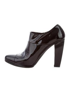 Prada Black Patent Leather Booties