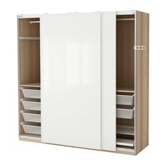 IKEA PAX Wardrobe White stained oak effect/färvik white glass 200x66x201 cm 10 year guarantee. Read about the terms in the guarantee brochure.