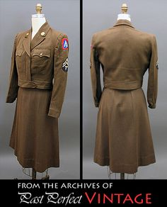 1944 Women's Army Corps olive drab uniform, Ike jacket style, with original US collar insignia and 5th Army and Tech Corporal sleeves patches.
