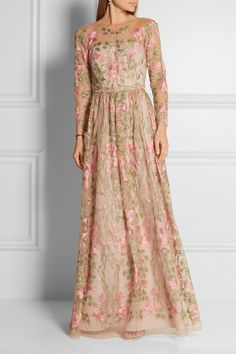 Marchesa Notte | Embroidered tulle gown | NET-A-PORTER.COM
