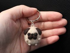 Cute Needle Felted Pug Keychain Puppy Accessory gift dog