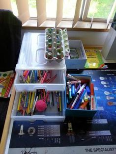Organized pens, pencils and other kids art and school supplies {featured on Home Storage Solutions 101}