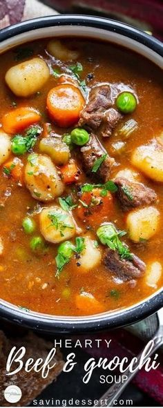 Hearty Beef and Gnocchi Soup is a warming and delicious chunky soup worthy of an entire meal. Serve with crusty bread to sop up all the delicious broth! Hearty Beef and Gnocchi Soup Recipe Gnocchi Recipes, Easy Soup Recipes, Cooking Recipes, Healthy Recipes, Healthy Soup, Beef Broth Soup Recipes, Chicken Recipes, Soup Broth, Steak Recipes