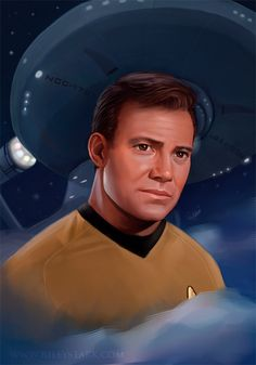 In honor of the anniversary of Star Trek: The one and only Captain James T. I've been on a Star Trek binge lately so I thought I'd do a portr. Captain James T. Star Trek Crew, Star Trek Spock, Star Trek Tos, Star Wars, James T Kirk, Star Trek Original Series, Cinema, Starship Enterprise, William Shatner