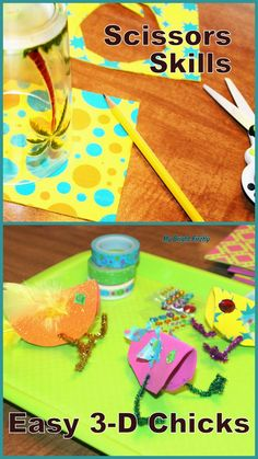 Adorable 3-D Foam Chicks can stand up and sit down. Easy Foam Chick Craft for Preschoolers. Playing with colors, tracing circles, scissors practice. There Was an Old Lady Who Swallowed a Chick!