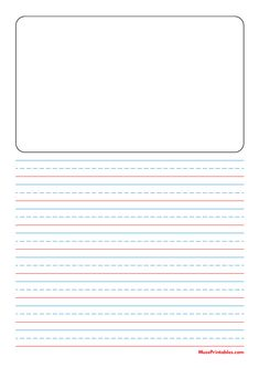 Printable Blue and Red Story Handwriting Paper (1/2-inch Portrait) for A4 Paper A4 Paper, Printable Paper, Handwriting, Free Printables, Templates, Portrait, Red, Blue, Calligraphy