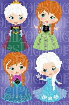 SNOW PRINCESS Colored Digital Clip Art Set Personal by DigiPops, $5.00