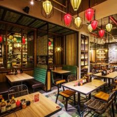 NamNam Noodle Bar by Metaphor Interior Architecture, Jakarta – Indonesia Vintage Restaurant, Chinese Restaurant, Cafe Restaurant, Restaurant Ideas, Bistro Interior, Asian Interior, Commercial Design, Commercial Interiors, Restaurant Exterior Design