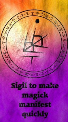 Witchcraft & Symbols: Magick Sigil to make magick manifest quickly. Wiccan Symbols, Magic Symbols, Viking Symbols, Egyptian Symbols, Viking Runes, Ancient Symbols, Magick Spells, Wicca Witchcraft, Chinese Tattoo Designs