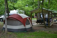 A tent site at Yogi Bear's Jellystone Park in Luray, Virginia.