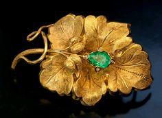 Victorian grape leaf gold emerald brooch