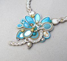 Bridal Necklace - Shabby Chic Soutache Necklace , Azure Bridal Jewery , Gray Choker , Handmade Bridal Necklace , Soutache Jewelry by GiSoutacheJewelry on Etsy https://www.etsy.com/listing/157176664/bridal-necklace-shabby-chic-soutache