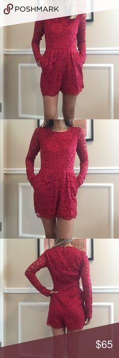 NWT Urban outfitters red lace long sleeve romper NWT Urban outfitters red lace long sleeve romper. Stunning! Back zipper. Hidden side pockets. Body is lined, arms are not Urban Outfitters Pants Jumpsuits & Rompers
