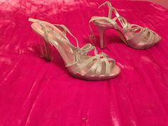 Sparkly Silver Strappy Glam Heels Size 9 1/2 #heels (ebay link)