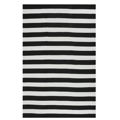 Fab Rugs Nantucket Striped Black/White Indoor/Outdoor Area Rug