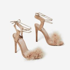 b864229b8d8 Savanna Lace Up Fluffy Heel In Nude Faux Suede Lace Up