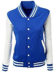 Women's Slim Fit Blue & White Baseball Varsity Letterman Zipper Jacket Coat sz M in Clothing, Shoes & Accessories, Women's Clothing, Coats & Jackets | eBay