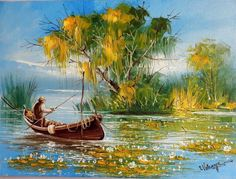 Scenery with fisherman in the delta of Romania by Ion Voineagu Impressionism Art, Impressionist, Oil Painting On Canvas, Canvas Art, Knife Painting, Original Art, Original Paintings, Landscape Paintings, Landscapes
