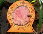 Acorn and Oak Leaf Fairy Door, Hobbit Door Magic Portal 4 inches tall, Brown. $8.00, via Etsy.