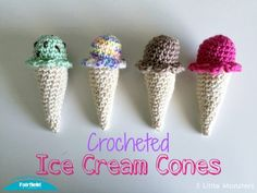 There is nothing better on a hot summer day than ice cream, it is cold, sweet, and tasted delicious. Though this crocheted version may not be any of those things it is still pretty cute, definitely fewer calories, and can be used in a lot of different ways. They are the perfect size for kids to use as play food. They could be strung together to make an ice cream cone garland that would be cute either just as summer decor or for an ice cream or birthday party. They could make cute party…