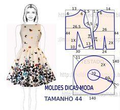 molde de vestido godé corte e costura fácil. As medidas facilitam o desenho do molde ao tamanho 44.