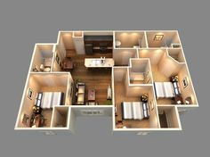 This is a 3D floor plan view of our 3 bedroom 3 bath 25 More 3 Bedroom 3D Floor Plans   3d  Architects and Building. 3 Bedroom House Designs 3d. Home Design Ideas