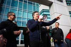 Actor Mark Ruffalo rallies solar supporters in front of the Public Utilities Commission office on Jan. 13.