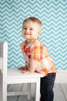 One Year Old - Posing - Standing with chair - Chevron - Amanda Dee Photography – Children