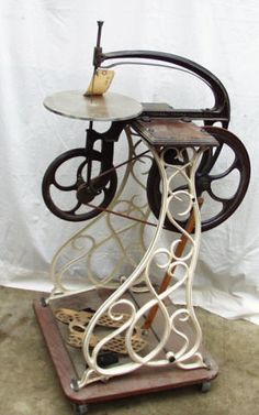 Antique Pedal Powered Jigsaw If only I could get my hands on it to convert it to a spinning wheel.