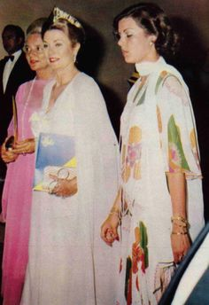 Princess Grace and Princess Caroline arriving at the opening gala of the Sporting Monte-Carlo on June 24, 1974.