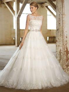 BallGown Straps Lace Satin Sweep Train White Beading Wedding Dresses at Millybridal.com
